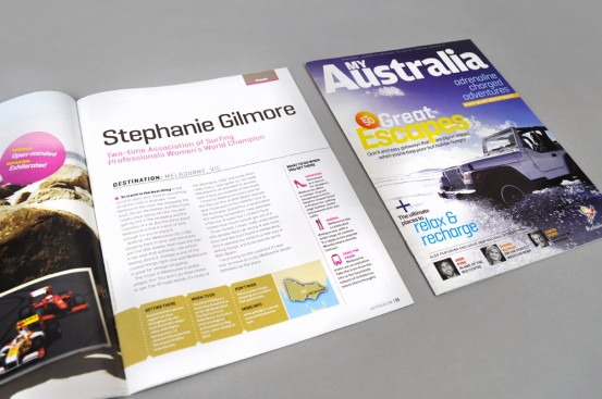 Hardie Grant Magazines for Tourism Australia cover and spread